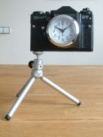 Nostalgic Clock in vintage camera body with tripod